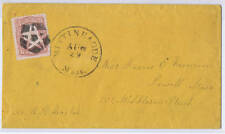 SCOTT# 65 ON COVER NEGATIVE 5 PT STAR IN SHIELD FANCY CANCEL, MA AUG 29 PMK 1861