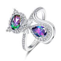 Cute Cat Jewelry Rainbow & Pink & White Topaz Gemstone Silver Ring Size 6 7 8 9