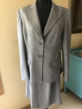 Anne Klein Gray Skirt Suit Career Polyester Spandex Mini Check Womens 14 Lined