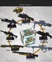 DIY 8 1:6 Weapons AK74 HK416 MG62 HK SLB MSR ARX-16Q 4D Plastic Guns Models Kits