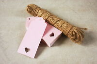 100 Pink Card Heart Gift Tags Wedding Scalloped Blank Luggage Tags and String