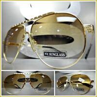 Classic Vintage Retro Style SUN GLASSES Unique Gold Metal Frame Honey Tint Lens
