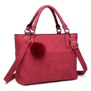 Miss Lulu PomPom Suede PU Leather Shoulder Hand Bag Claret Red