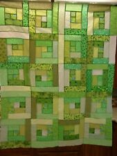 Scrappy Christmas Log Cabin Quilt Top 35 X 43