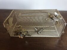 Vtg gold Metal Mesh mcm roses Bath Vanity Kleenex Tissue Box Holder Cover