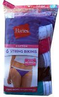 "Hanes Women's Cotton Sporty String Bikini Panty (Pack of 6)  "" PLUCH NO PINCH """