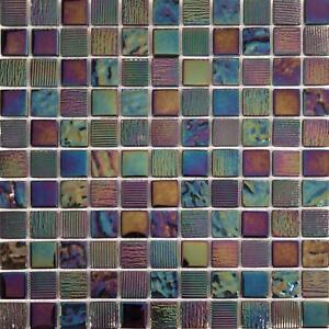 Pearl Iridescent Dark Purple Textured Glass Mosaic Tile Sheet (GTR10159)