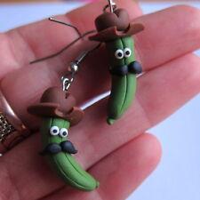 Fimo alimentos Lindo Funny Verde Pickles pepinillos bigote, sombrero Hecho A Mano pendientes