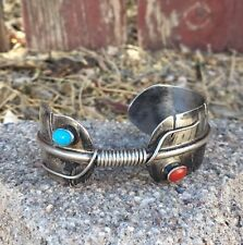 Vintage Navajo Old Pawn Sterling Silver Turquoise Coral Feather Cuff Bracelet