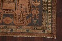 Antique Geometric Tribal Ardebil Handmade Runner Rug Hand-Knotted Carpet 4'x10'