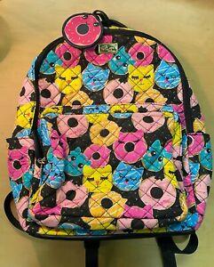 💕 BETSEY JOHNSON Medium Backpack Donut Cat Face School Travel Diaper Weekender
