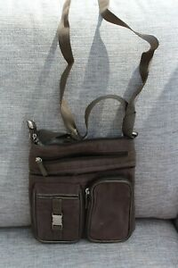 Khaki Brown Strong Nylon Cross Body Shoulder bag pockets zip 9 x 10in x 2 in