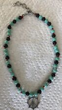 Lucky Brand Peace Sign Silvertone Pendant Necklace Turquoise & Black Beads