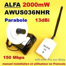 Carte Wifi Alfa AWUS036NHR 2000 mW Antenne 5 dBi + Parabole 13 dBi