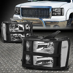 FOR 07-14 GMC SIERRA 1500 2500 3500 BLACK/CLEAR OE STYLE HEADLIGHT HEAD LAMPS