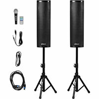 2000W Set of 2 Bi-Amplified Bluetooth Speakers PA System with 3-Channel & Stands