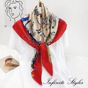 Women Lady Quality Large Classic Elegant Square Silk Scarf Wrap Shawl-90*90cm