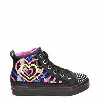 Skechers FLIP KICKS Twi-Lights 2.0 -HEARTBEATZ Black/Neon Pink HALF PRICE!!