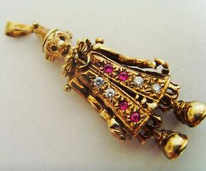 9ct Gold Clown Pendant Set With Gemstones 40mm Drop Length Hallmarked
