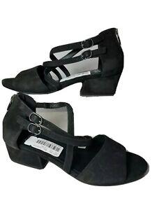 Eileen Fisher women Sandals Kyra black Nubuck Leather Open Peep Toe sz 8 new