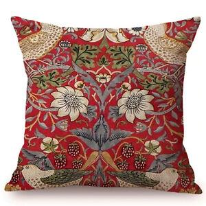 William Morris Strawberry  Thief rot II Arts & Crafts Kissenhülle Baumwolle