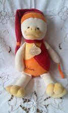 Doudou et compagnie Canard Gédéon jaune orange rouge oeuf 32cm