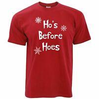 Novelty Chrismas T Shirt Ho's Before Hoes Slogan Xmas Adult Joke Rude