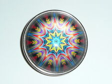 """Cool Paperweight Domed Shank Button 1-1/2"""" Funky Flower Red Blue Yellow Purple"""