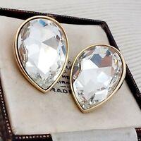 Vintage - 1980s Huge Tear  Drop Diamante Crystal Glass Clip on Earrings
