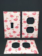 Flamingos Pink Light Switch Cover Plate Set of 3 Funny Birds Beach Island Decor