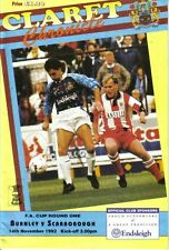 Football Programme>BURNLEY v SCARBOROUGH Nov 1992 FAC