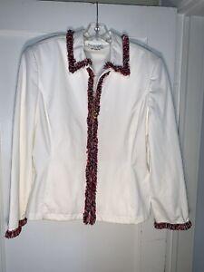 St. John Sport Ivory Fringe zip red white blue fringe Jacket Charms sz L  A897