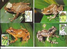 4 maxikaarten wwf 1988 Endangered species Kikkers Fiji reptielen