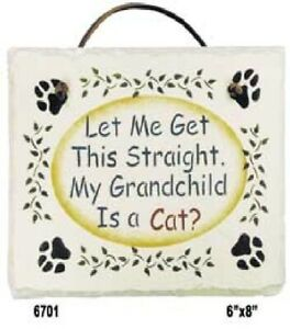 Grandchild is a Cat Saying on Hand-Stenciled Slate by Kims Crafts - LAST ONE
