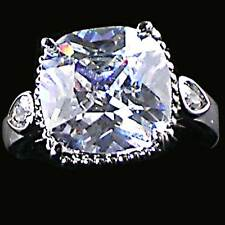 CUSHION Cut CZ Cocktail / Engagement Ring w/CZ Accents_ Size-7_NF_925 SILVER