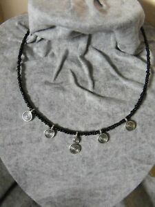 BLACK AND silver coin swirl  choker NECKLACE  GLASS  BEADED goth biker