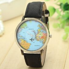 BLACK Travelling World Map Plane Pattern Watches Denim Quartz Casual Hipster