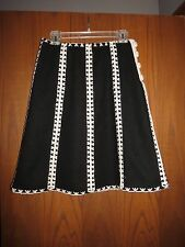 Etcetera Carlisle $295 Black Felted Wool Ivory Embroidered A-Line Skirt 2