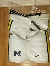 UNIVERSITY OF MICHIGAN U OF M BAUER HOCKEY PANTS SHELLS med+1 med+1 WHITE LOWERS