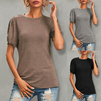 Women Short Puff Sleeve T-shirt Top Ladies Casual Summer Basic Tee Blouse Casual