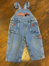 Vintage Harley Davidson Denim Jean Overalls Bibs 24 Months Boy Light Blue Pocket