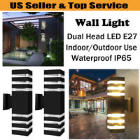 LED Up Down Wall Light Sconce Dual Head Lamp Lighting Fixture Outdoor Waterproof