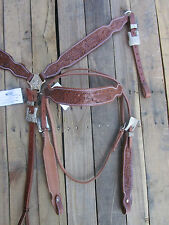 WESTERN HEADSTALL BREASTCOLLAR FLORAL TOOLED LEATHER TRAIL BARREL HORSE BRIDLE