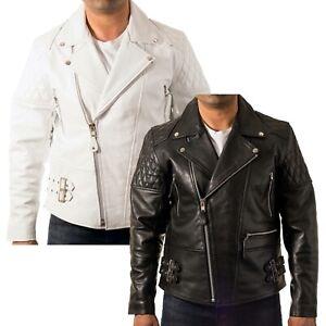 Mens Brando Cross Zip Padded Quilted shoulder/ Sleeves Double Belt Biker Jacket