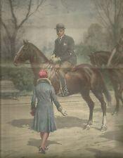 K0586 Mussolini a cavallo viene avvicinato da giovane signorina - Stampa antica