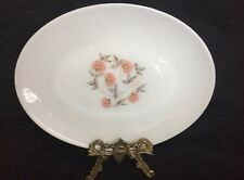 Vintage Fire King  Oval Platter,red And Pink Flowers EUC 1960's RARE