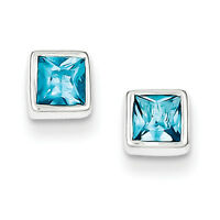 925 Sterling Silver Bezel Polished Post Squared Light Blue CZ Earrings