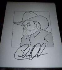 "CHARLIE DANIELS ""The Devil Went Down To Georgia"" Signed 8.5x11 Cartoon Autograph"