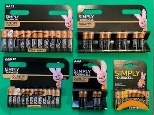DURACELL SIMPLY QUALITY GUARANTEED AA & AAA ALKALINE BATTERIES LONGEST EXPIRY