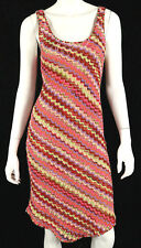 MISSONI Multi-Color Diagonal Striped Linen Blend Knit Tank Dress 42